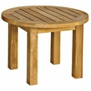 "Three Birds Canterbury Teak Low 20"" Round Side Table"