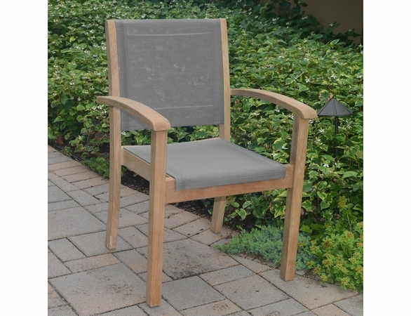 Three Birds Riviera Teak Stacking Arm Chair - Set of 2