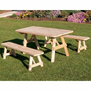66f999891bcc Traditional Cedar Picnic Table with Two Benches (4', 5', 6'