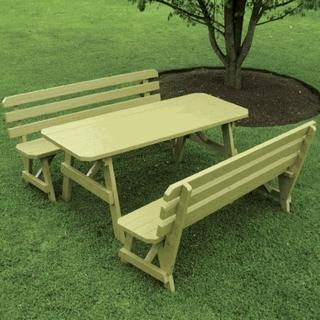 Picnic TablesOutdoor Furniture Plus - Teak picnic table with detached benches