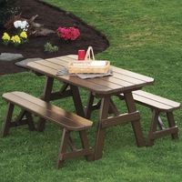 Traditional Pine Picnic Table with Two Benches (4', 5', 6', or 8')