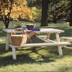 Log Cedar Picnic Table w/ Flip-Up Benches