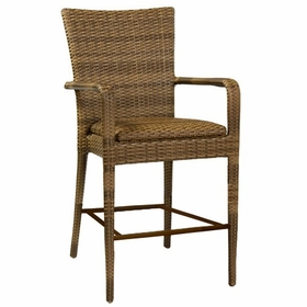 Whitecraft by Woodard All -Weather Wicker Padded Seat Counter Stool with Arms