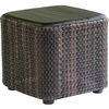 Whitecraft by Woodard Aruba Wicker End Table with Teak Top