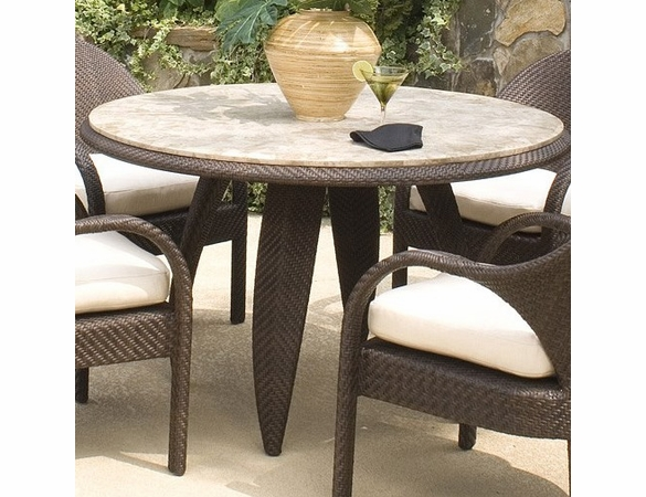Whitecraft by Woodard Bali Wicker Round Dining Table w/ Woven or Stone Top