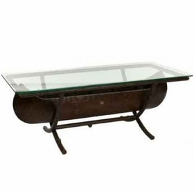 Whitecraft by Woodard Chatham Run Canoe Coffee Table with Glass Top