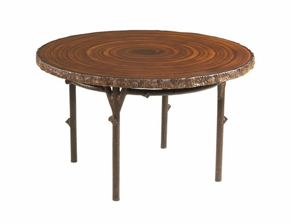 Whitecraft by Woodard Chatham Run Faux Bois Heartwood Round Dining Table