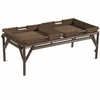 Whitecraft by Woodard Chatham Run Wicker Coffee Table with Glass Top and Removable Trays