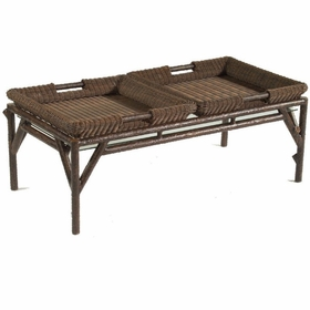 Whitecraft by woodard chatham run wicker coffee table for Coffee table with removable glass top