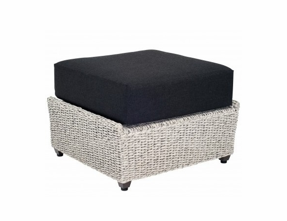 Woodard Isabella All Weather Wicker Ottoman Off White