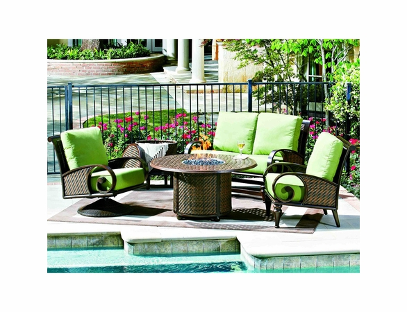 Whitecraft by Woodard North Shore Seating Set w/ Fire Pit