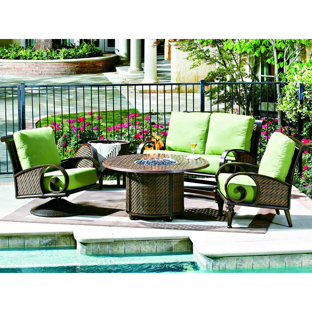 Whitecraft by Woodard North Shore Seating Set w/ Fire Pit - Whitecraft By Woodard North Shore Set W/ Fire Pit