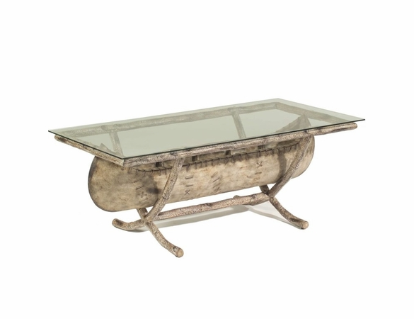 Whitecraft by Woodard River Run Faux Bois Canoe Coffee Table with Glass Top
