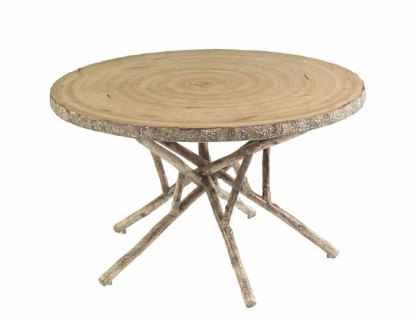 Whitecraft by Woodard River Run Wicker Round Birch Heartwood Dining Table