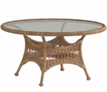 "Whitecraft by Woodard Sommerwind Wicker 48"" Round Dining Table with Glass Top"