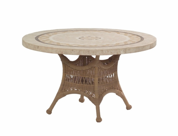 """Whitecraft by Woodard Sommerwind Wicker 48"""" Round Dining Table with Glass Top"""