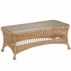 Whitecraft by Woodard Sommerwind Wicker Coffee Table with Glass Top