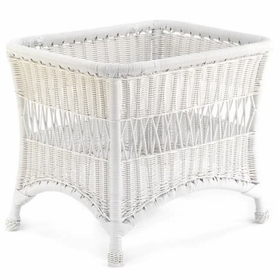 Whitecraft by Woodard Sommerwind Wicker End Table with Glass Top