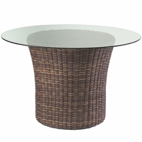 """Whitecraft by Woodard Sonoma Wicker Round Dining Base with 48"""" Glass Top"""