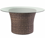 "Whitecraft by Woodard Sonoma Wicker Round Dining Base with 48"" Glass Top"