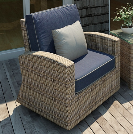 Forever Patio Cypress Wicker Swivel Glider Club Chair