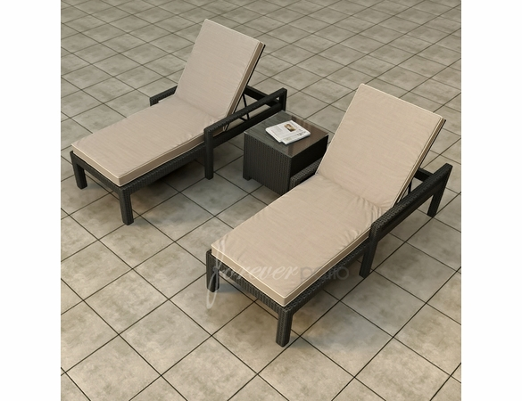 Wicker Forever Patio 3 Pc Barbados Chaise Lounge Set
