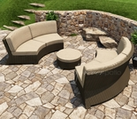 Wicker Forever Patio 3 Pc Barbados Curved Sofa Sectional Set