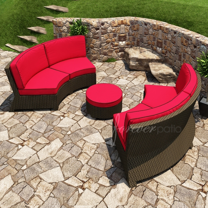 Wicker Forever Patio 3 Pc Barbados Curved Sofa Set