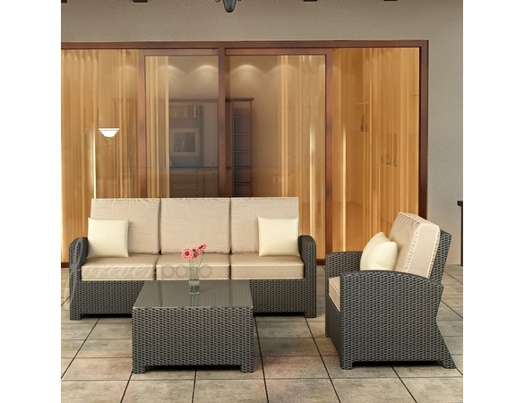 Wicker Forever Patio 3 Pc Barbados Sofa Seating Set
