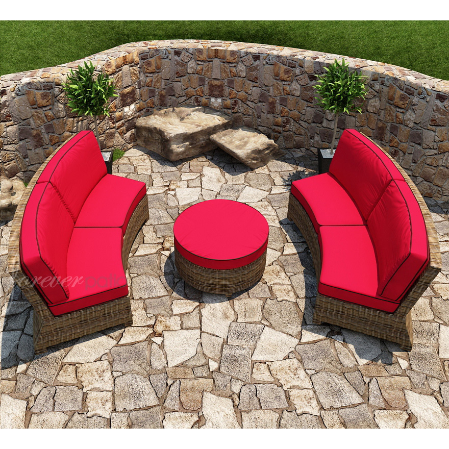 Forever Patio Cypress Wicker Curved Sectional Set 3 Pc