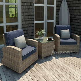 Wicker Forever Patio 3 Pc Cypress Seating Chat Set