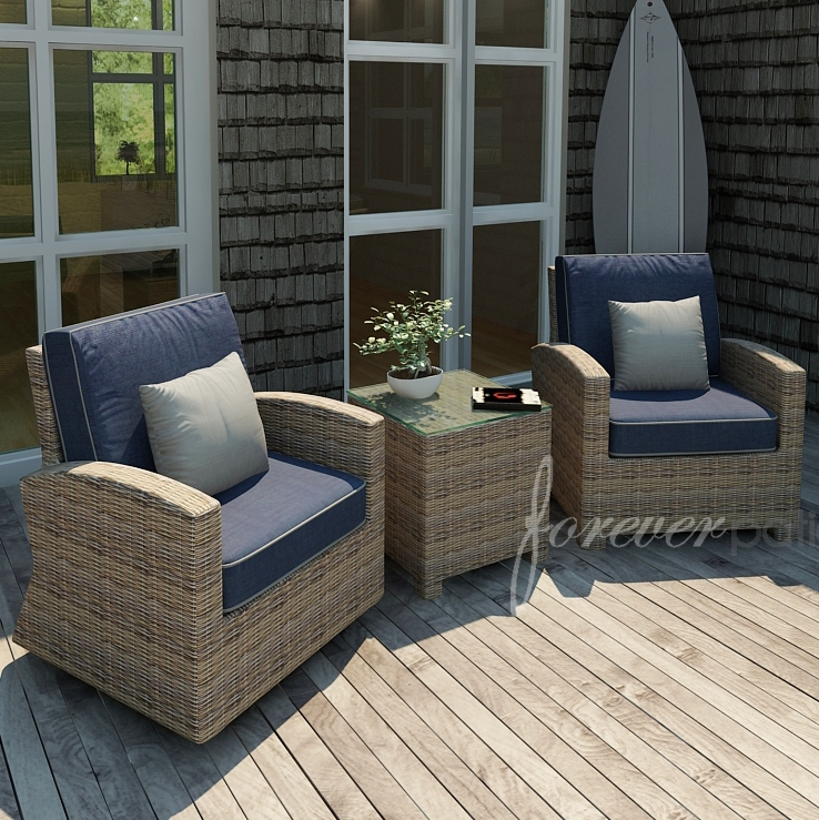 Forever Patio Cypress Wicker Seating Chat Set 3 Pc