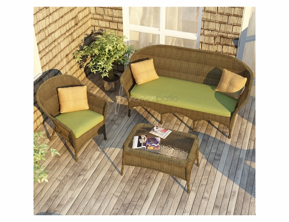 Wicker Forever Patio 3 Pc Rockport Sofa Seating Set