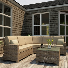 Wicker Forever Patio 4 Pc Cypress Deep Seating Sectional Set