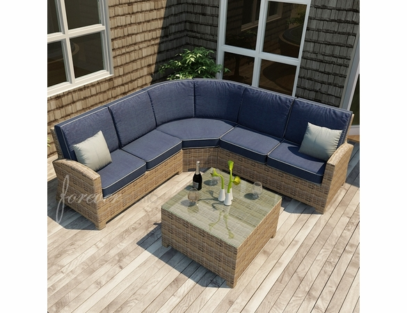Forever Patio Cypress Wicker Sofa Sectional Set 4 Pc