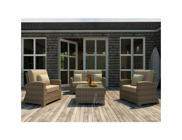 Wicker Forever Patio 4 Pc Cypress Loveseat Seating Set