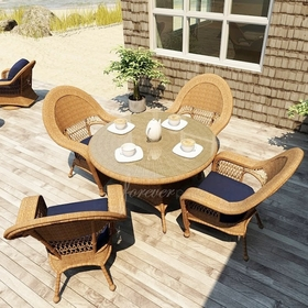 """Wicker Forever Patio 5 Pc Catalina 48"""" Round Dining Set"""