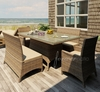 "Wicker Forever Patio 5 Pc Cypress 42"" x 72"" Dining Set with Loveseat"