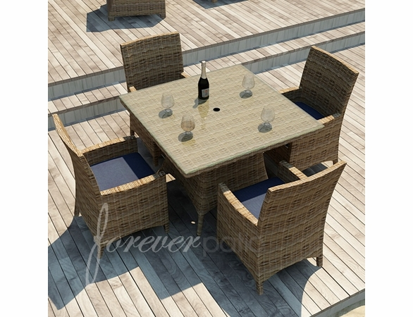 """Wicker Forever Patio 5 Pc Cypress 48"""" Square Dining Set"""