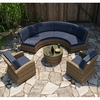 Wicker Forever Patio 5 Pc Cypress Curved Sofa Sectional Set