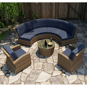 Forever Patio Cypress Wicker Curved Sofa Sectional Pc