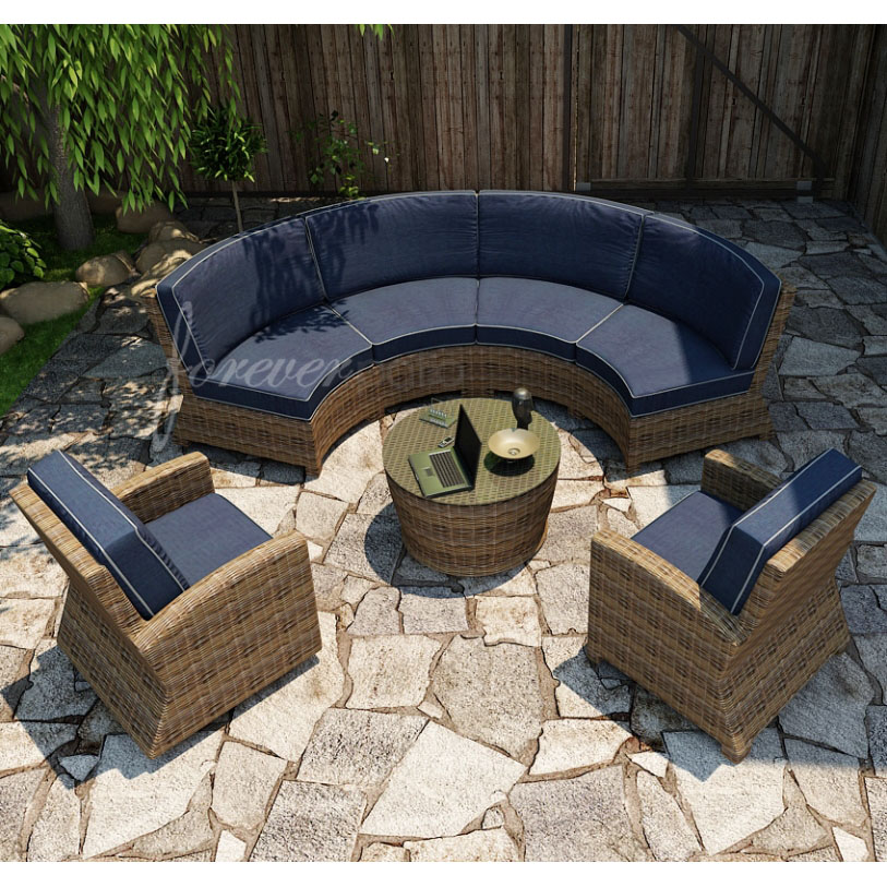 Forever Patio Cypress Wicker Curved Sofa Sectional 5-Pc