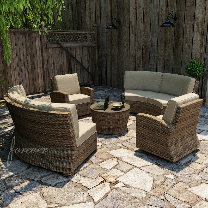 Forever Patio Cypress Wicker Curved Sofa Sectional 5 Pc