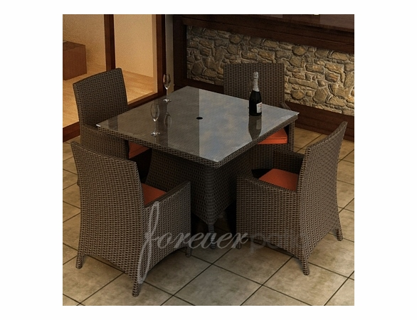 "Wicker Forever Patio 5 Pc Hampton 48"" Square Dining Set"