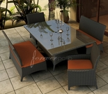 "Wicker Forever Patio 5 Pc Hampton 72"" x 42"" Dining Set with Loveseat"
