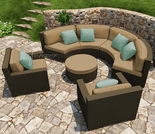 Wicker Forever Patio 5 Pc Hampton Curved Loveseat Sectional Set