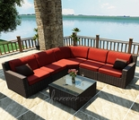 Wicker Forever Patio 6 Pc Capistrano Deep Seating Sectional Set