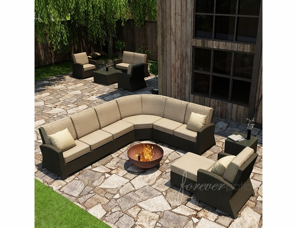 Wicker Forever Patio 7 Pc Barbados Deep Seating Sectional Set