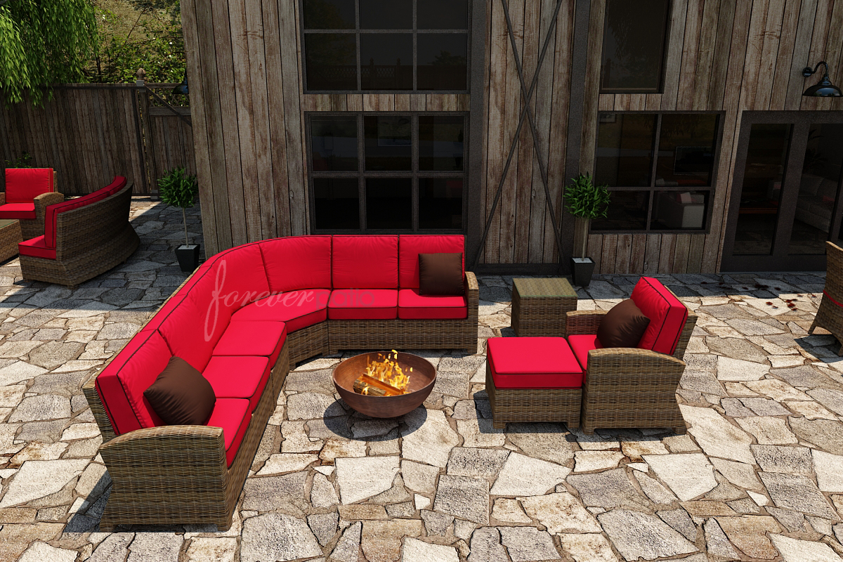 Forever Patio Cypress Wicker Plush Sofa Sectional 7 Pc