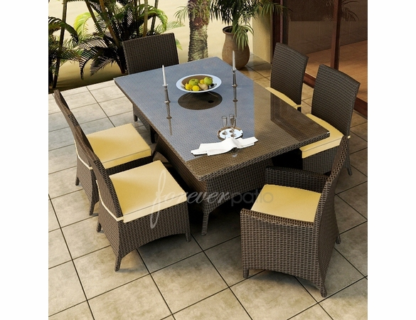 "Wicker Forever Patio 7 Pc Hampton 72"" x 42"" Dining Set"